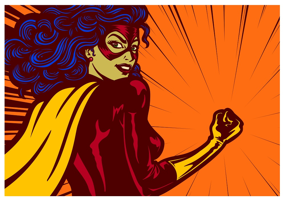 Pop art comic book style female superheroine with clenched fist female superhero vector illustration