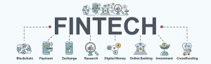 Fintech banner web icon set, blockchain, financial technology, payment, online banking, investment and crowdfunding