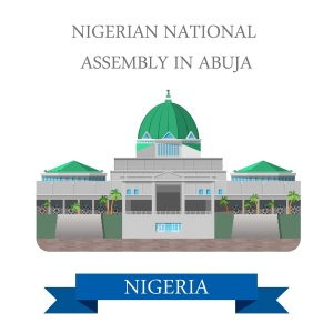 National Assembly of Nigeria in Abuja. Flat cartoon style historic sight showplace attraction web site vector illustration. World countries cities vacation travel sightseeing Africa collection.