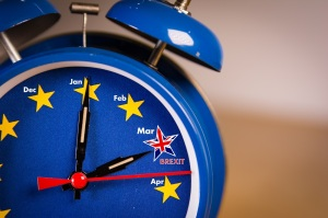 Alarm clock with the colors of the EU flag and one UK star. Representing the countdown for Brexit in march 2019.
