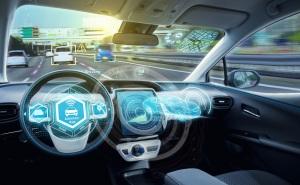 Empty cockpit of autonomous car, HUD(Head Up Display) and digital speedometer. autonomous car. driverless car. self-driving vehicle.