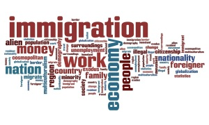 Immigration issues and concepts word cloud illustration. Word collage concept.