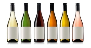 Set 6 bottles of wine with white labels isolated on white background.