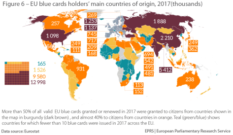Figure 6 – EU blue card holders' main countries of origin, 2017 (thousands)