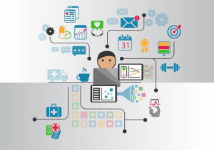 Digital e-health concept as vector illustration. Cartoon person connected to online doctor and hospital