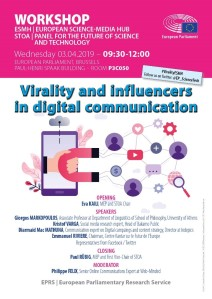 European Science-Media Hub (ESMH) Workshop 'Virality and influencers in digital communication' Can the European message go viral?