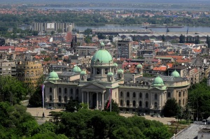 Aerial view of National Assembly in Belgrade, Serbia