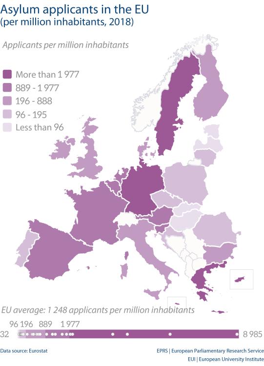 Asylum applicants in the EU (per million inhabitants, 2018)
