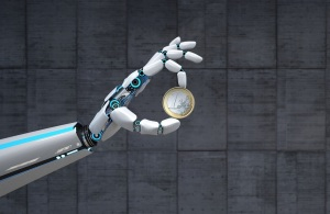 A robot hand with the 1 Euro coin. 3d illustration.