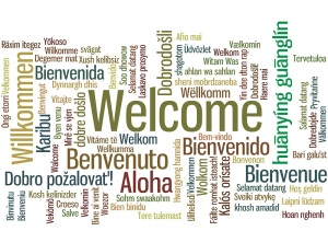 Welcome Word Tag Cloud in many languages