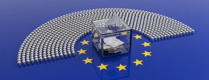 EU election. European Union parliament seats and a voting box on EU flag background, banner. 3d illustration