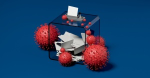 ballot box and viruses blue background 3D rendering