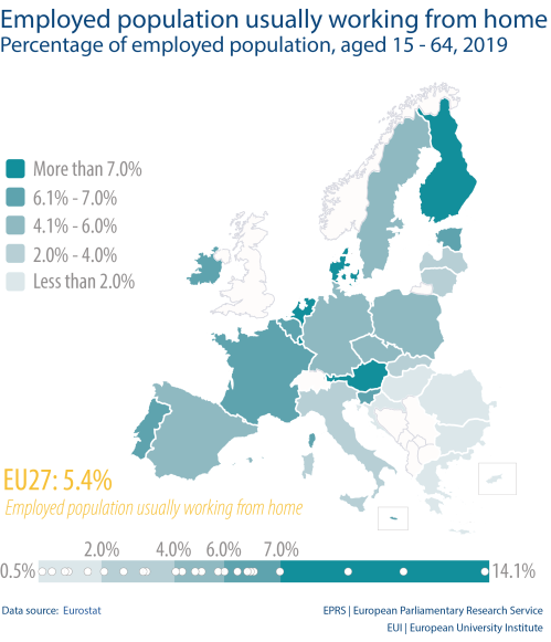 Percentage of employed population, aged 15 - 64, 2019