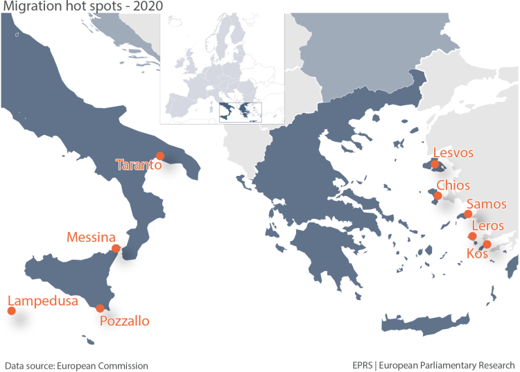 Hotspots in Greece and in Italy