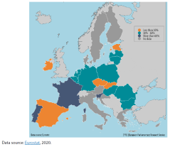 In July 2014, the proportion of minimum wages in median earnings across Member States varied from 40 % (Estonia) to 66 % (Portugal) (see Map 3). On the basis of the level of their national gross monthly minimum wages expressed as a proportion of the median gross monthly earnings, Eurostat categorised Member States in three different groups: Group I: the proportion of minimum wages in median earnings was above 60 %: Portugal, Slovenia and France; Group II: the proportion of minimum wages in median earnings was between 60 % and 50 %: Luxembourg, Hungary, Bulgaria, Netherlands, Belgium, Poland, Germany (data 2015), Latvia, Romania, Lithuania and Malta; Group III: the proportion of minimum wages in median earnings was below 50 %: Czechia, Ireland and Estonia.