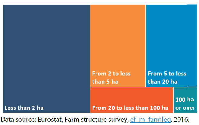 Distribution of EU farms by land area (hectares)