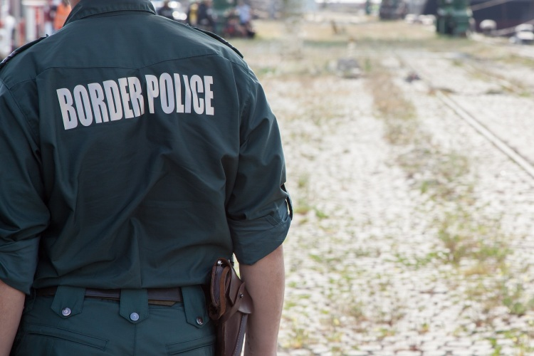 Closeup of a border police officer