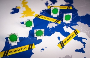 Map of european countries with coronavirus and quarantine signs.Concept of Coronavirus, COVID-19 and quarantine