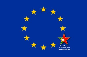 EU Flag, one of the 12 stars bigger than the others and with the flag of Croatia inside. Portugal will hold the presidency of the Council of the Eropean Union for the period January to June 2021