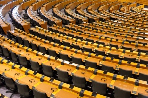 BRUSSELS, BELGIUM - JULY 30, 2014: The European Parliament Room (debating chamber) on July 30, 2014 in Brussels.